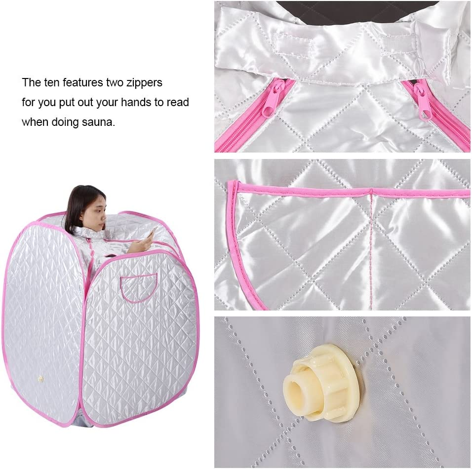Portable Sauna Tent UK 2L Portable Personal Full Body Spa Steam Home Sauna Home Tent Pot Machine Foldable Sauna Machine Indoor Slimming Weight Loss Therapy 9 Level To Control Temperature