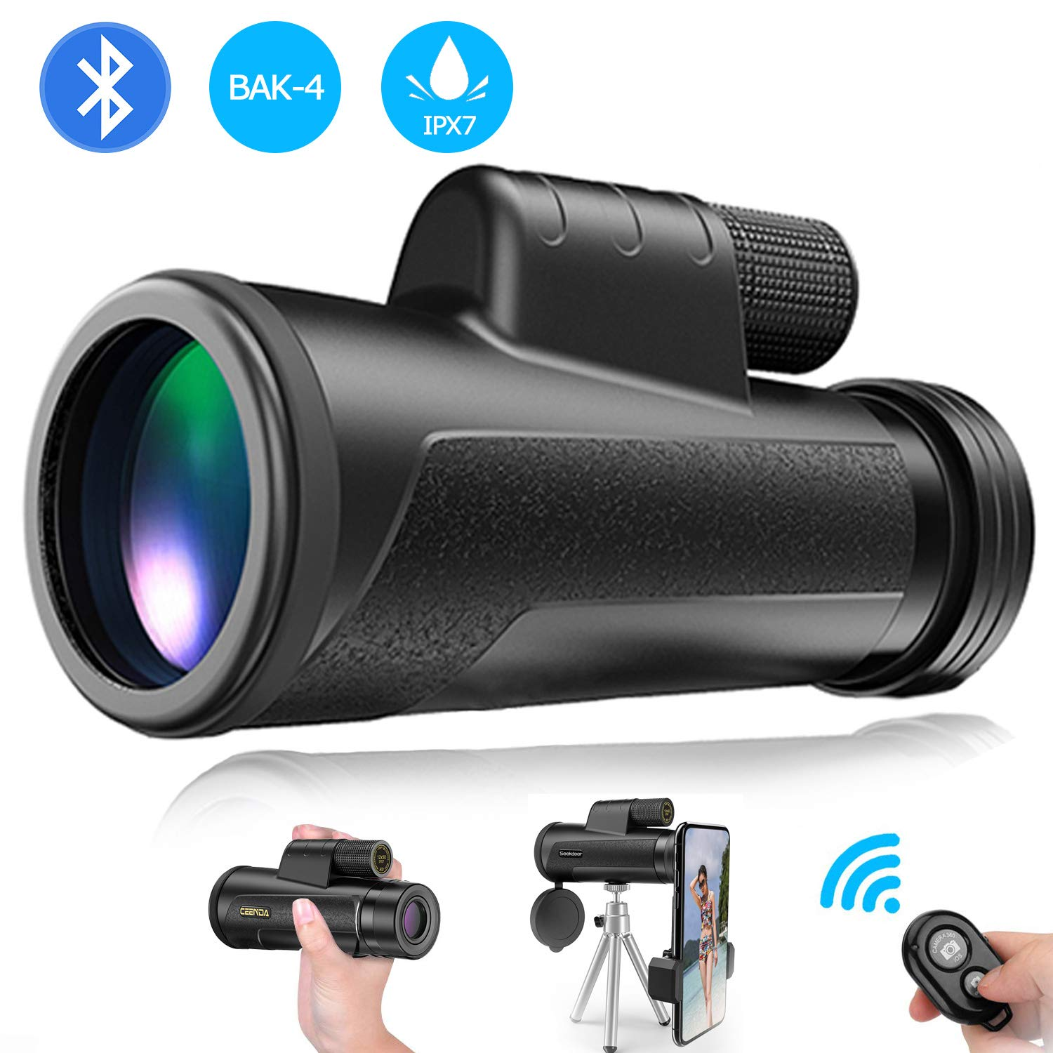Monocular Telescope with Smartphone Holder - 12X50 High Power HD Monocular, Camera Shutter, Waterproof IPX7, BAK4 Prism, Tripod for Watching Wildlife Bird Hunting Camping Travel by HMCC