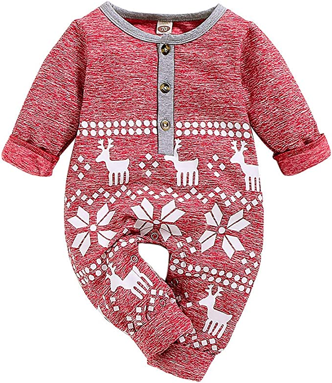 Festive Threads Unisex Baby My First Christmas Red Print Pink, 12 Months T-Shirt Romper