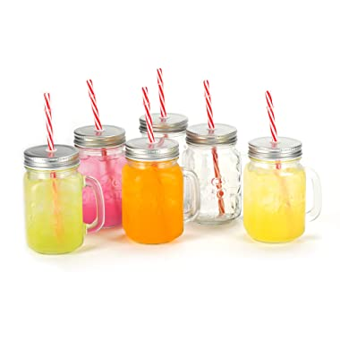 Mason Jar Mugs with Handle, Shot Jars Embossed Logo, Silver Lid and Plastic Straws. 16 Oz. Each. Old Fashion Drinking Glasses - Pack of 6. by Premium Vials