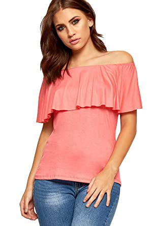 fc725562c9 WearAll Womens Off Shoulder Layered T-Shirt Top Ladies Bardot Neck  Sleeveless Stretch - Coral - 12-14  Amazon.co.uk  Clothing