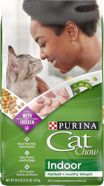Purina Cat Chow Hairball, Healthy Weight, Indoor Dry Cat Food, Indoor - (4) 3.15 lb. Bags