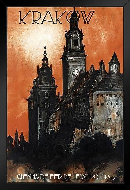 Amazon com: Krakow Poland Vintage Travel Art Print Framed