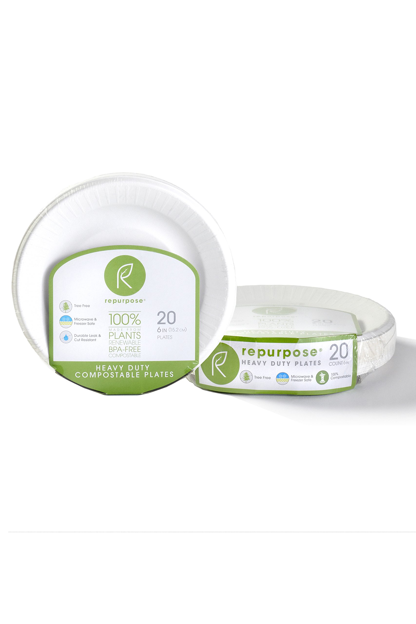 Repurpose 100% Compostable, Tree Free, Plant-Based Plates, Round, 6 inch (480 Count)
