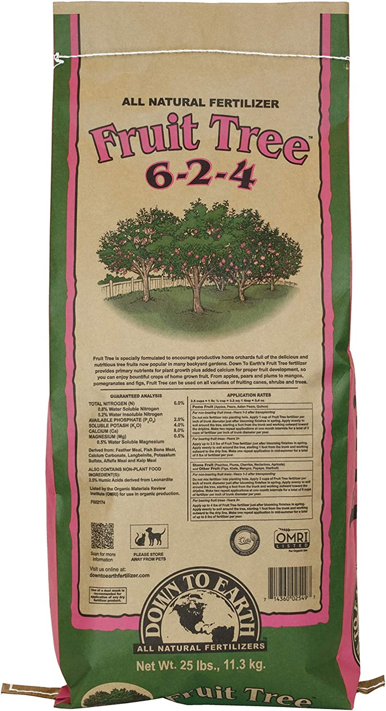 Down to Earth Organic Fruit Tree Fertilizer Mix 6-2-4, 25lb