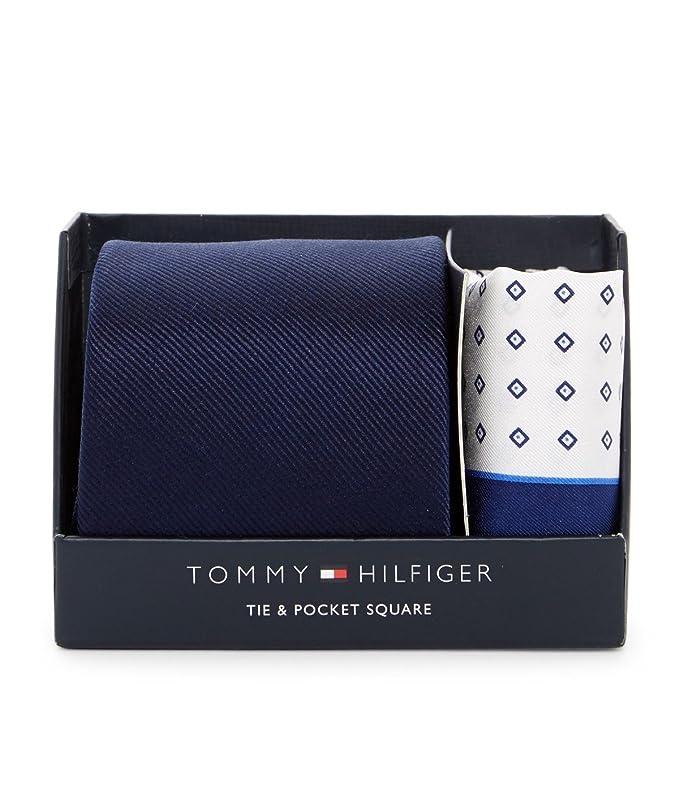 9a9a3d79c5 Amazon.com  Tommy Hilfiger Men s Solid Silk Tie   Micro Neat Pocket Square  Boxed Set