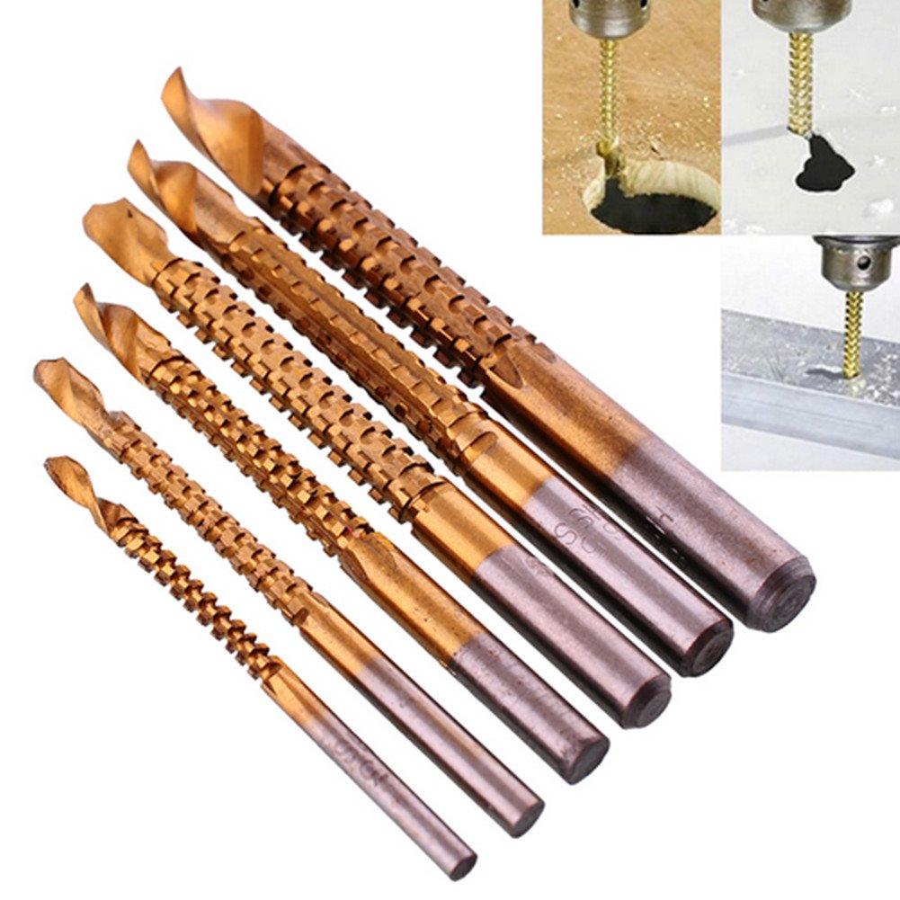 Beautijin 6 PCS Titanium HSS Drill & Saw Bit Set, 3-8mm Carpenter Hacksaw Drill bit, Serrated Drill bit Hole Drilling Wood Metal