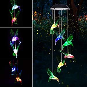Mosteck Gifts for Mom Grandma Wind Chimes Outdoor, Solar Hummingbird Wind Chimes Color Changing Lights Mobile Wind Chime Best Memorial Birthday, Decorative Romantic Patio Lights for Yard Garden Home