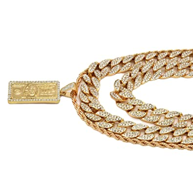 a5bd7cc78344f L2JK 4 pcs Bundle Set 24k Gold Plated Hip Hop Fully Cz Cuban Chain ...