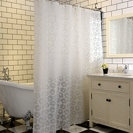 Simple Shower Curtains Bath Curtain White Geometric Printed Protection PEVA Plastic Waterproof
