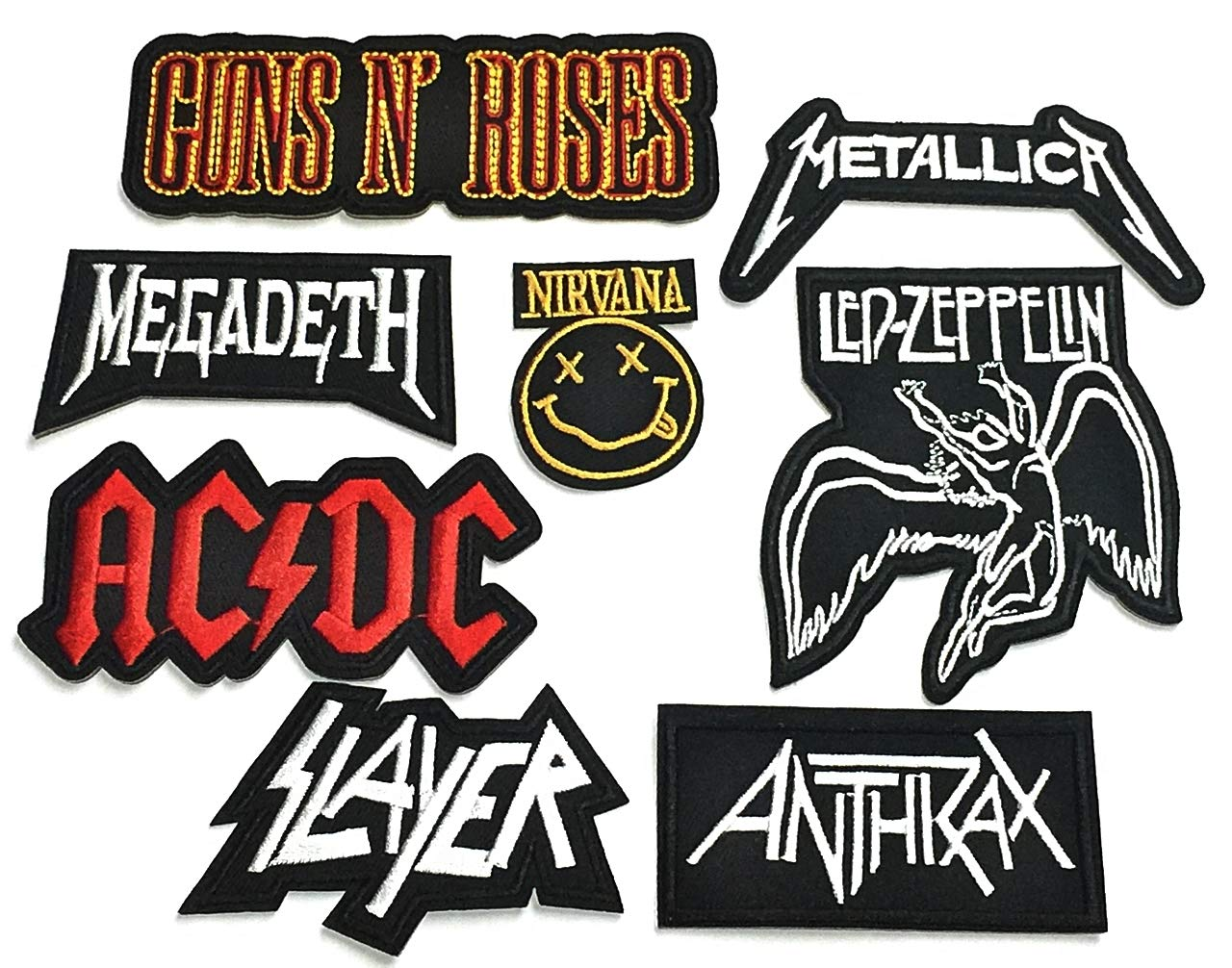 Set Patch of Iron on Patches#16,Guns n Roses Rock Band Patch,AC DC ACDC Patch,Led Zeppelin Patch,Metallica Patch,Nirvana Patch,Slayer Patch,Megadeth Patch,Anthrax Heavy Metal by BossBee Thailand