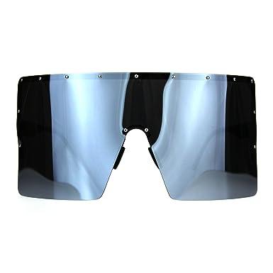6b53099eac Extra Large Face Mask Color Mirror Futuristic Sunglasses Black Silver Mirror