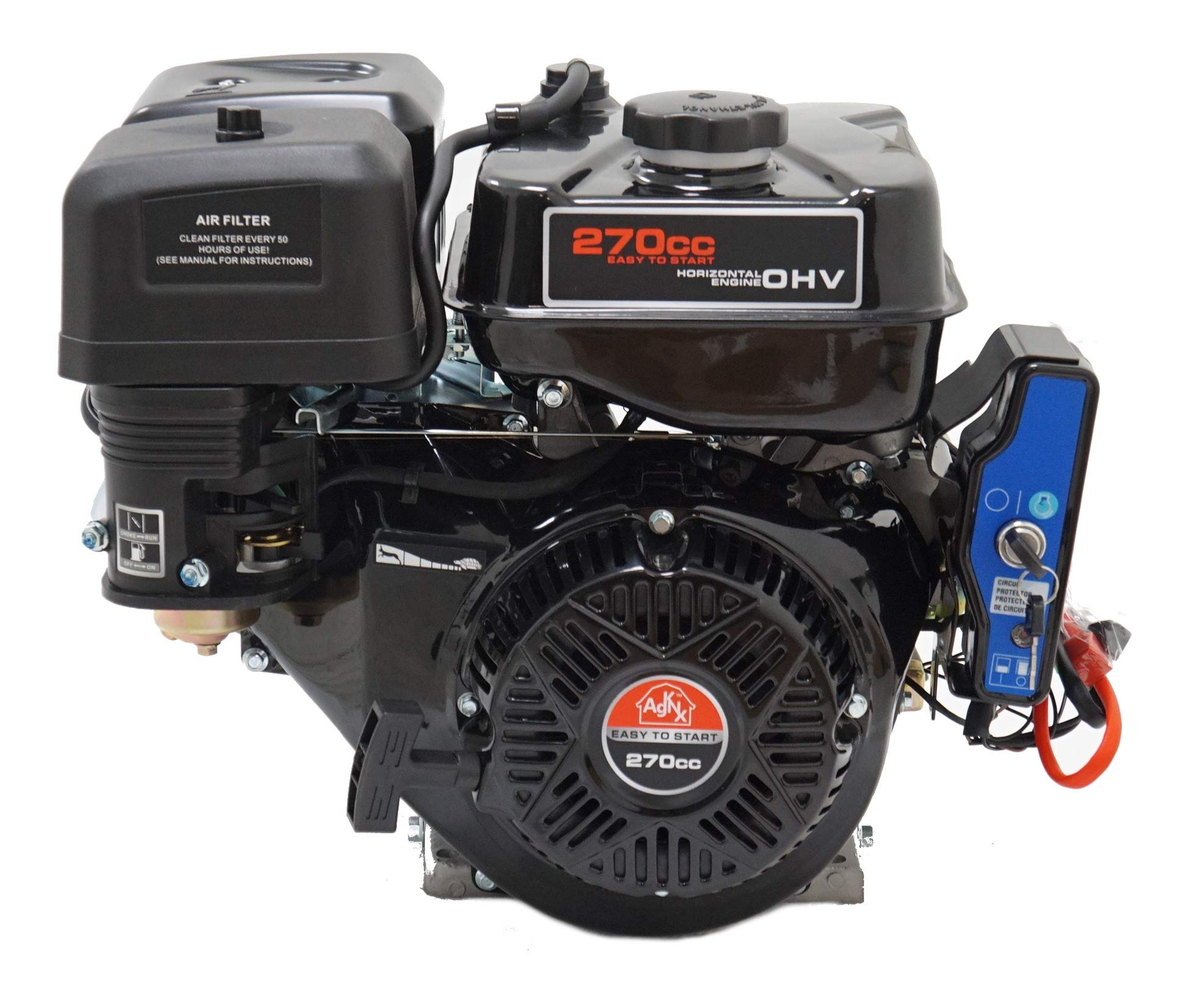 AgKNX9 HP Electric Start 270cc Four Stroke Gas Engine w/ 1'' Shaft