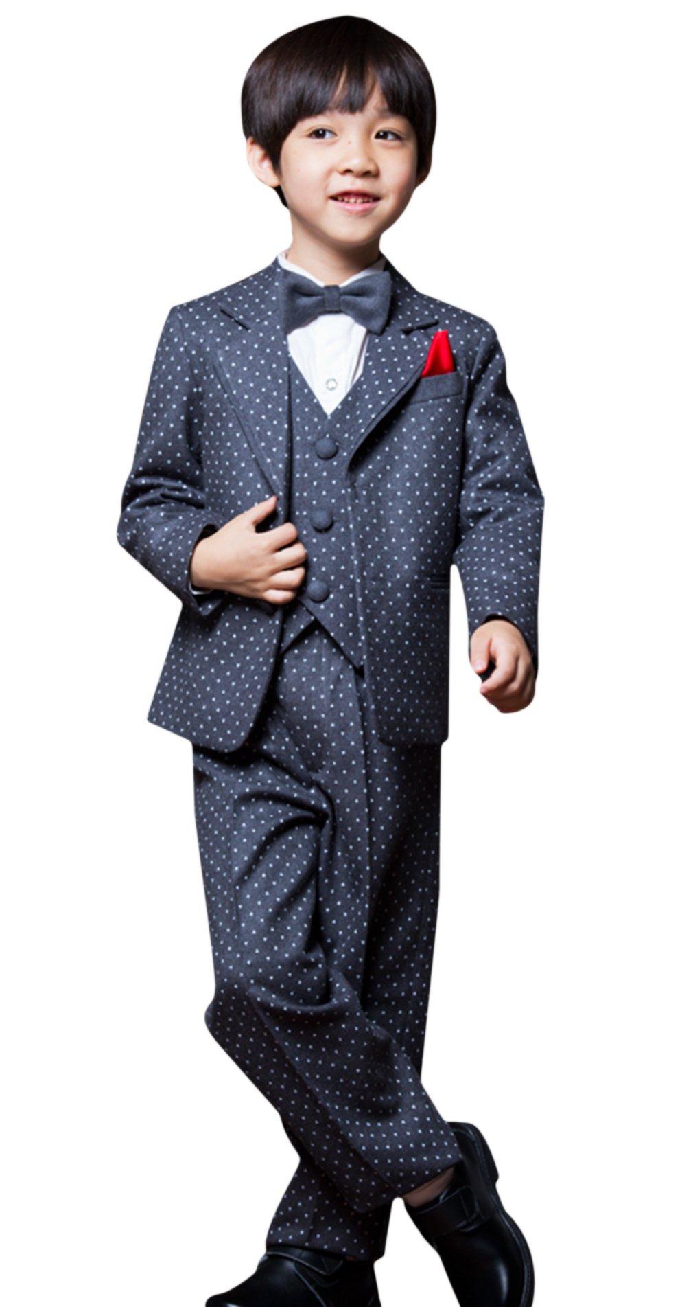 La Vogue Boys Formal 5 Piece Dress Suit Jacket Vest Shirt Pant and Bow S4 by La Vogue