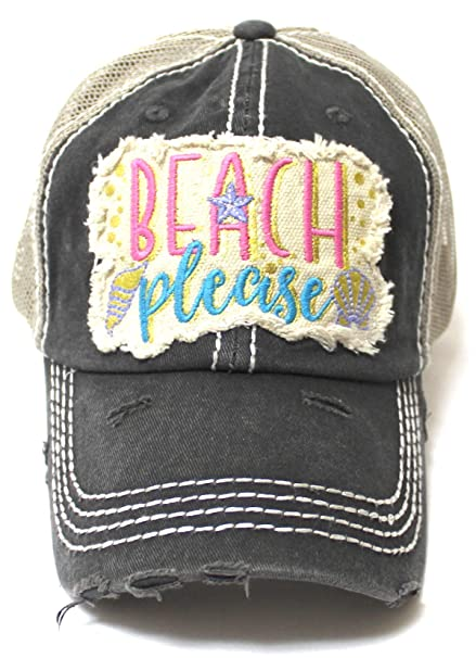 dfa6af196 Women's Vintage Trucker Hat Beach Please Patch Embroidery Graphic ...