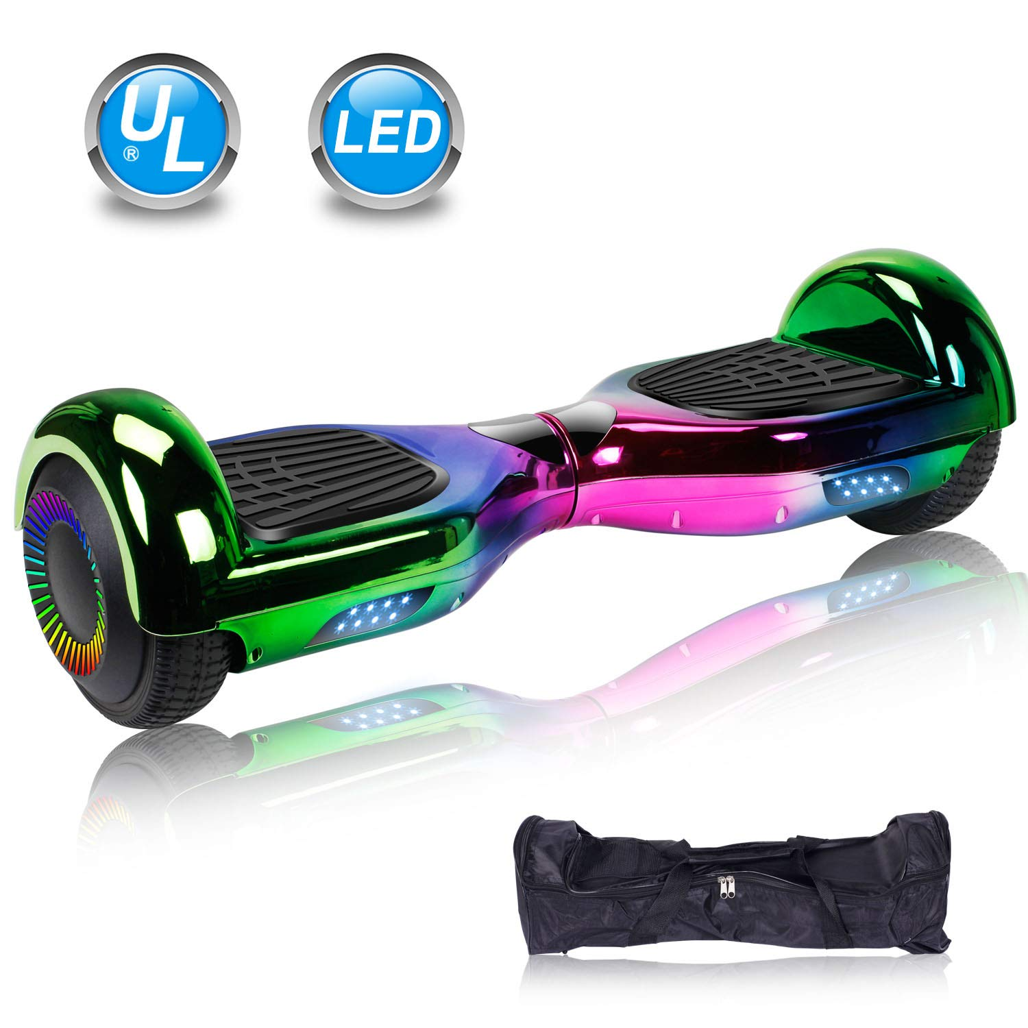 UNI-SUN 6.5'' Hoverboard for Kids, Two Wheel Self Balancing Electric Scooter, Hoverboard with LED Lights for Adults, UL 2272 Certified Hover Board(Classic Chrome 3Colors)