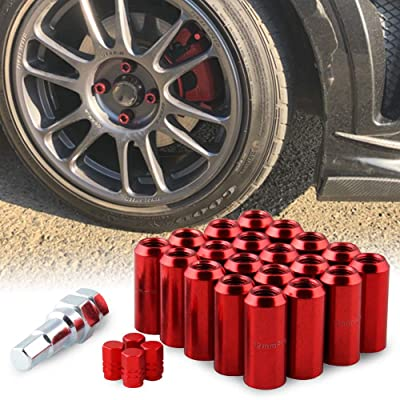 RYANSTAR Wheel Lug Nuts 20Pcs+ Tire Valve Stem Caps 4 Pcs Set M121.5 with 19mm and 21mm Hex Key Red: Industrial & Scientific