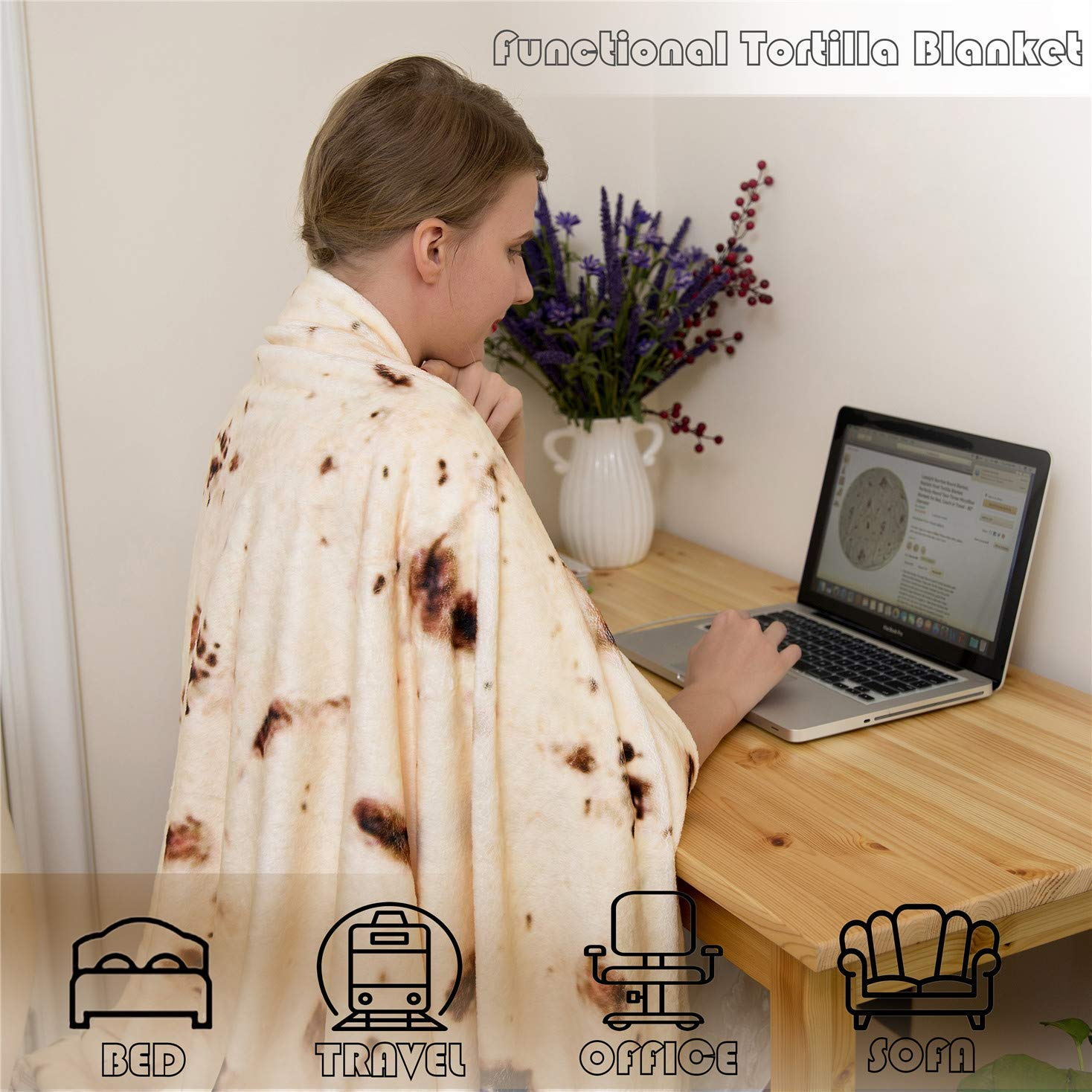mermaker Burritos Tortilla Blanket, Realistic Burritos Wrap Giant Round Blanket, Novelty Soft Flannel Food Tortilla Blanket for Adults (80'' Diameter, Yellow-4) by mermaker (Image #3)