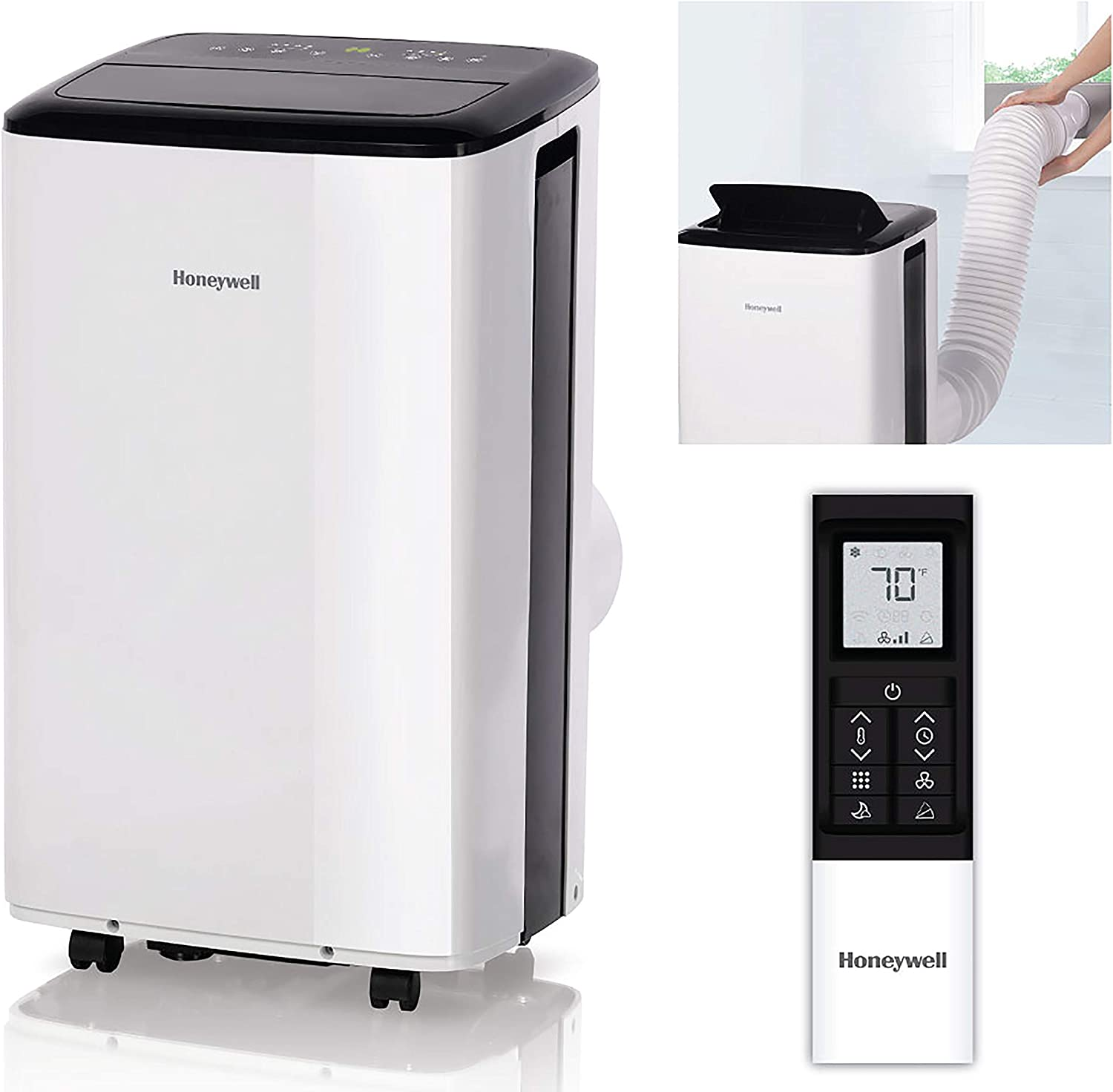 Honeywell Compact Portable Air Conditioner w/Dehumidifier & Fan Cools Rooms Up to 350 Sq.Ft. w/Drain Pan & Insulation Tape, White