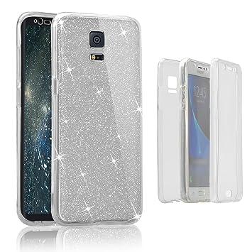 Funda delantera y trasera para Samsung Galaxy S5, Vandot Brillante Brillo Purpurina llamativa Carcasa para Galaxy S5 360 Grados Full Body Cuerpo ...