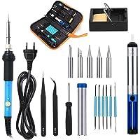Kit fer à souder, 18pcs électrique Kit fer à souder 220V 60W Température réglable de 200–450°C Idéal pour soudure & les réparations, Hobby, l'école & Budget