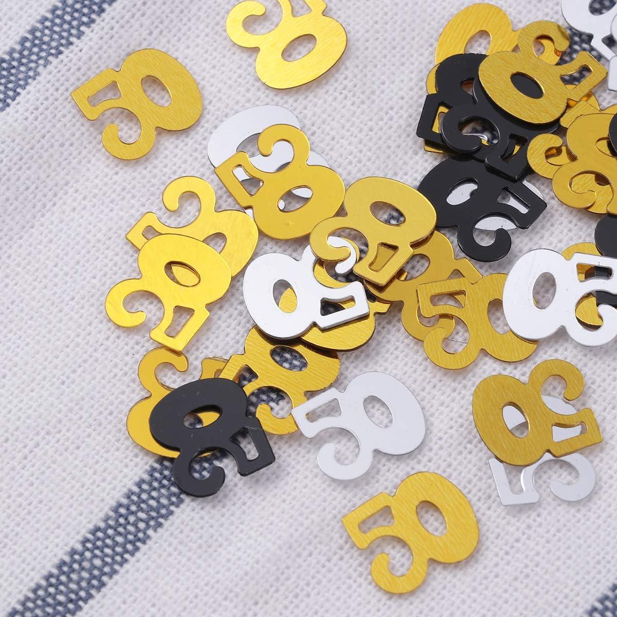 Or Argent Noir Amosfun 1200pcs 50/ème anniversaire et anniversaire de mariage Table de f/ête Confettis Paillettes Confetti D/écoration