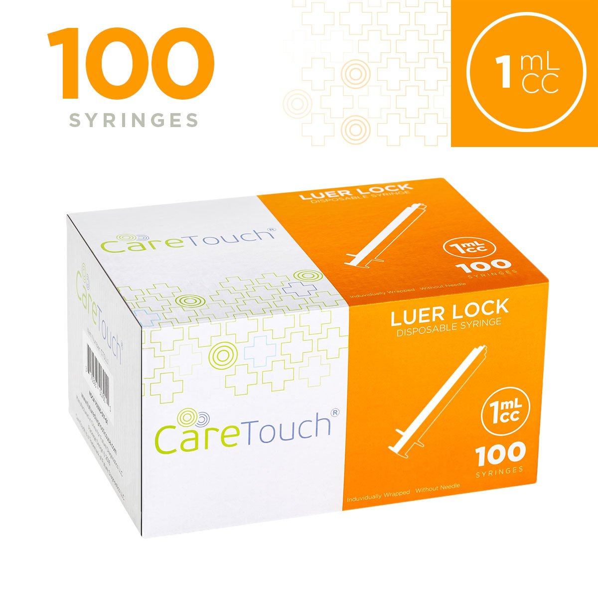 1ml Syringe Only with Luer Lock Tip - 100 Syringes by Care Touch (No Needle)