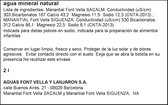 Font Vella - Agua Mineral Natural - 2 L: Amazon.es: Alimentación y bebidas