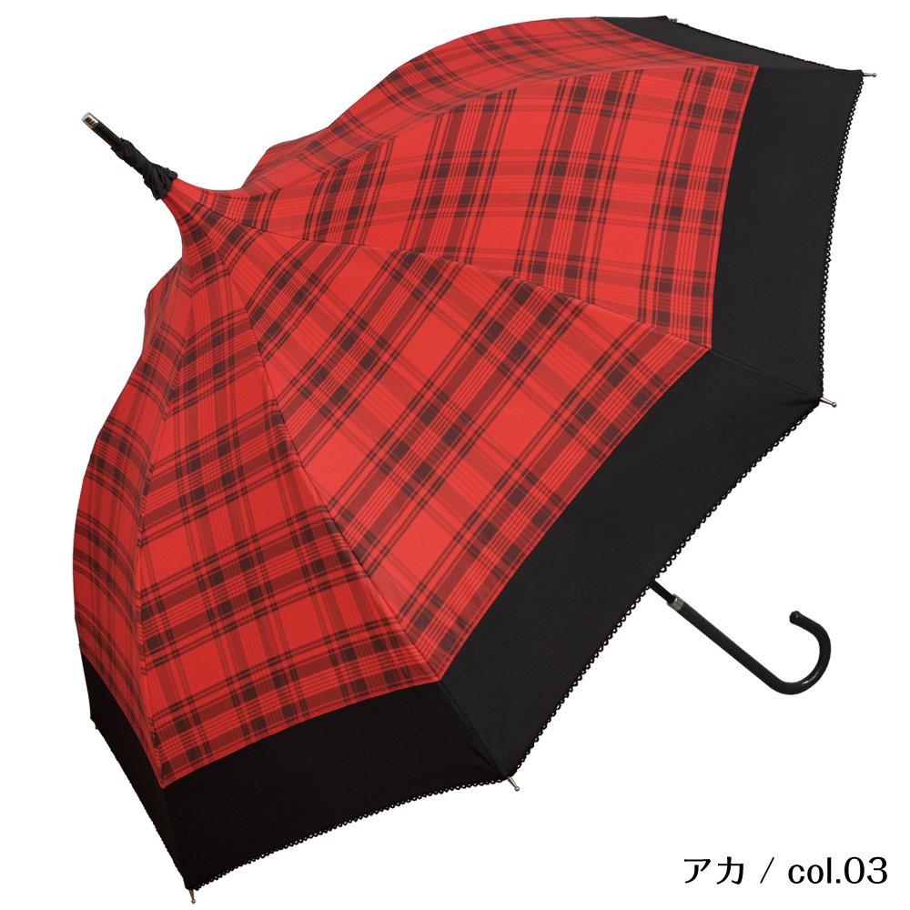 plain-tartan(プレイン タータン)/傘 パゴダ傘 レディース UVカット 晴雨兼用 (アカ/col.03) B074KTS4SVアカ/col.03