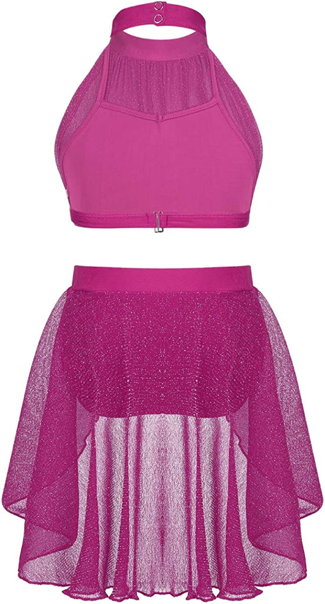 Yeahdor Kids Girls 2-Piece Athletic Dancing Oufits for Lyrical Modern Contemporary Mock Neck Crop Top with Skirted Bottoms