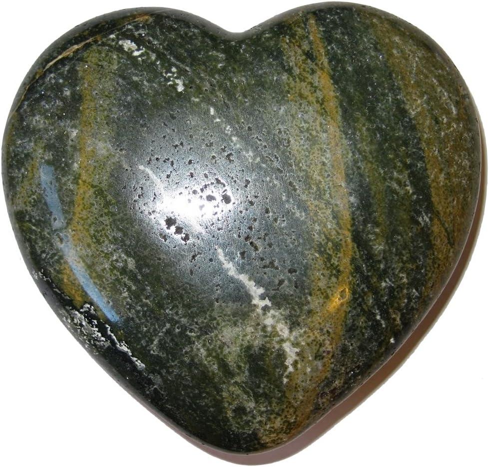 Satin Crystals Jasper Ocean Heart 4 Collectible Swamp Green Gold Crystal Fourth Chakra Healing Stone Love C02