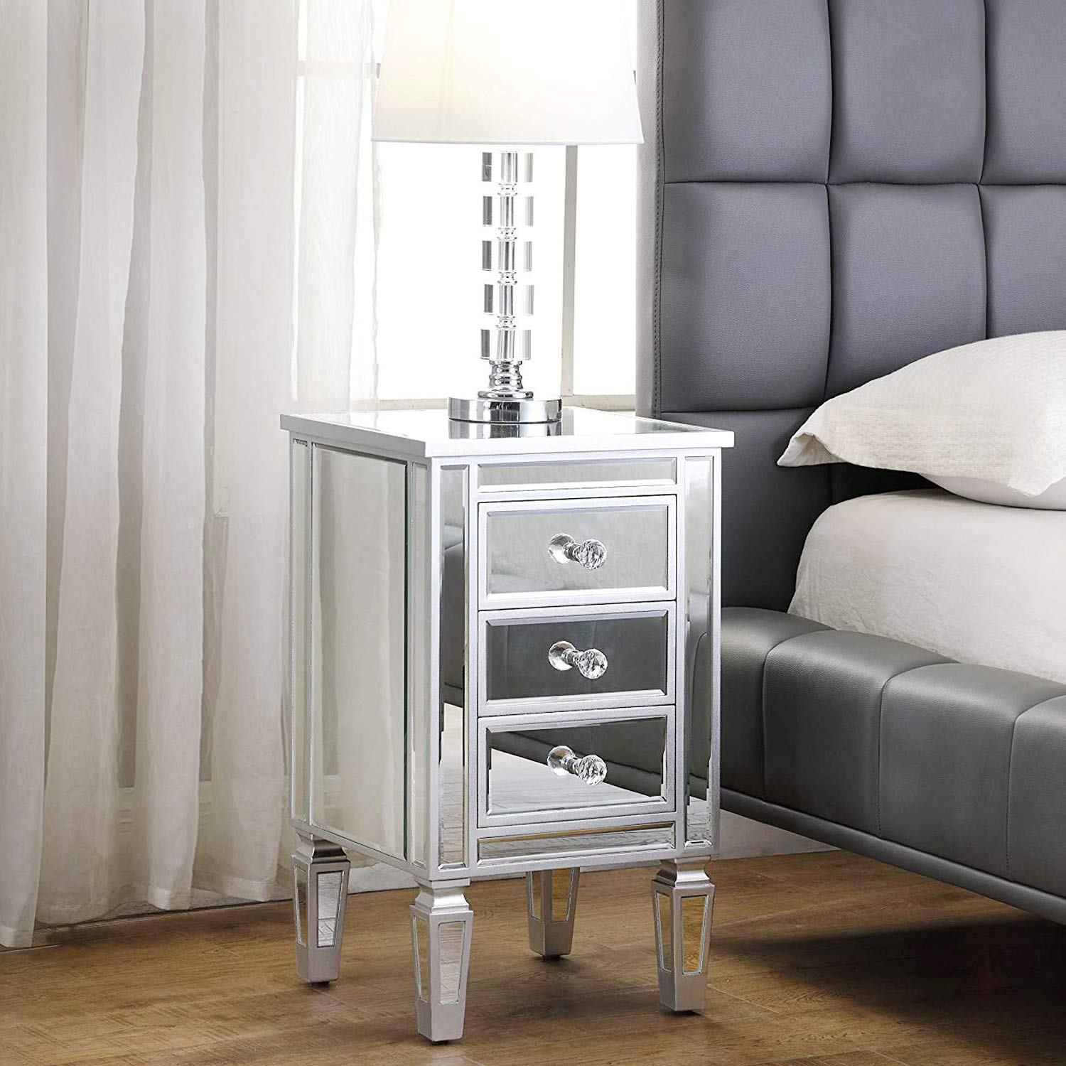 3-Drawer Mirrored End Table - GA Home Mirrored Furniture Nightstand Glass Bedside Table, Silver