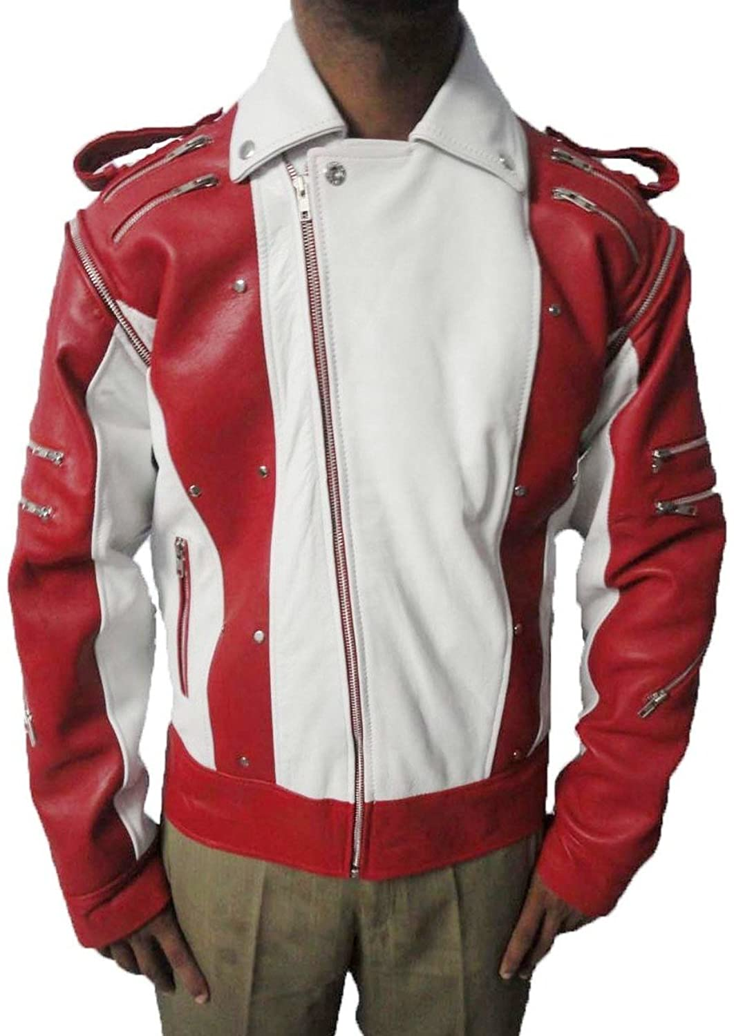 mens Real leather jacket=Michael jackson pepsi red and white=Available sizes XS---5XL