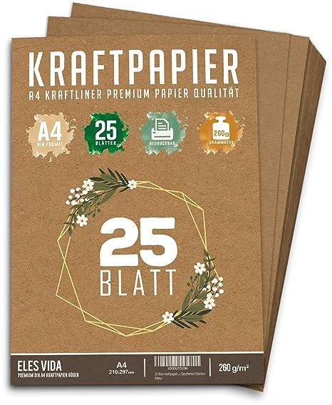 25 Blatt Kraftpapier A4 Set 260 G 21 X 297 Cm Din Format
