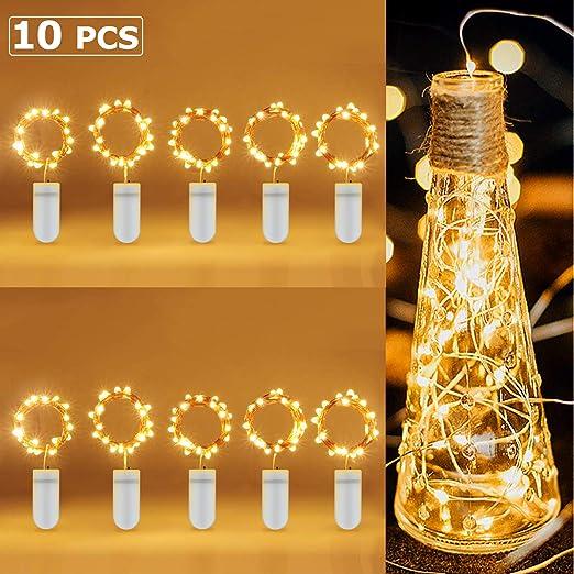 Foonii 10 Pack Guirnalda Luces, 2M*6+1M*4 LEDs Cadena de Luces Pilas Alambre de Cobre para Decoración para Iluminación DIY, Navidad y Decoración Fiesta, Blanco Cálido: Amazon.es: Iluminación