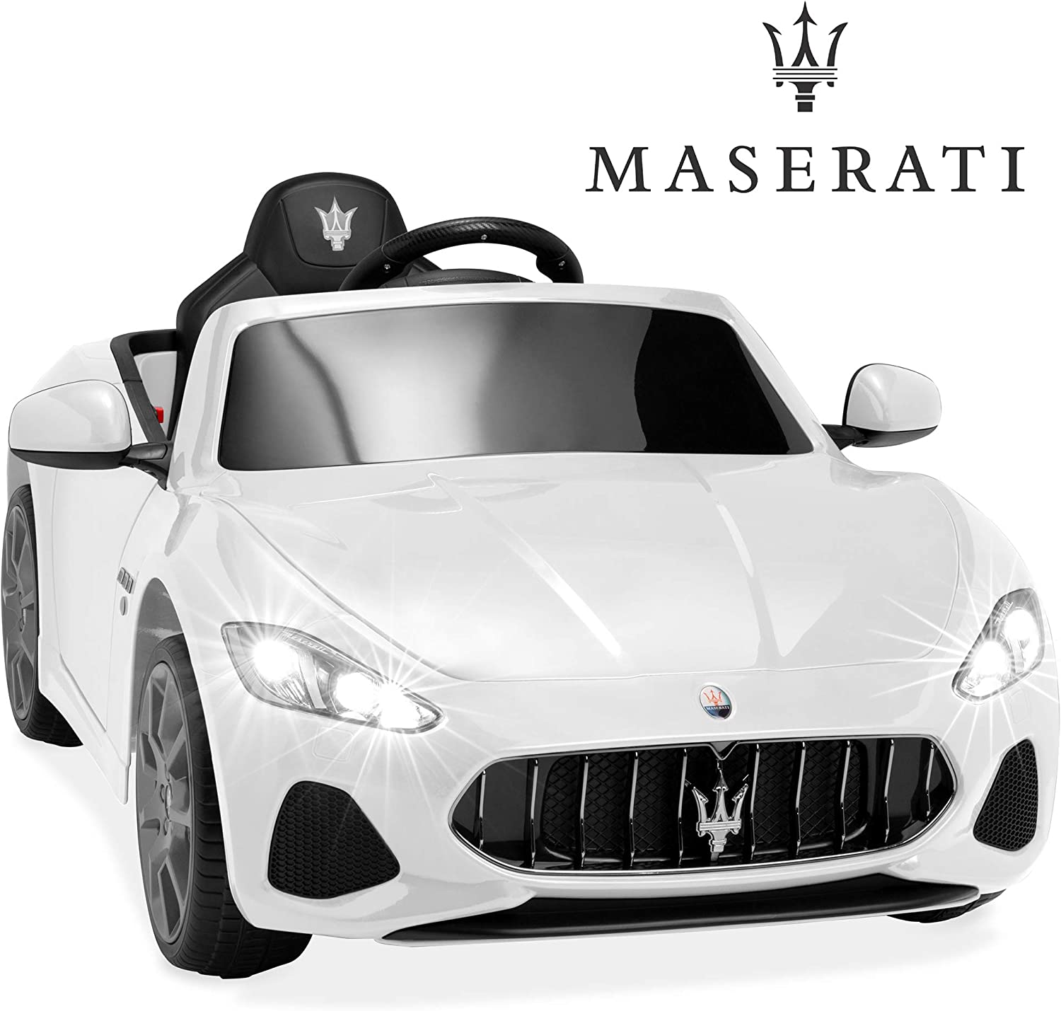 Best Choice Products Kids 12V Licensed Maserati GranCabrio Ride On Sports Car w/Remote Control, Sounds, AUX Port, LED Lights - White