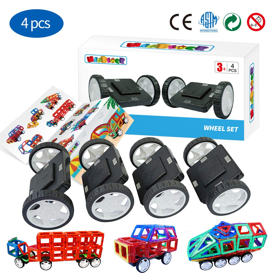 Magnetic Blocks 4 Pieces Wheels Set,Compatible with Other Brands of Standard Size Magnetic Tiles, Magnetic Toys Wheels Bases for Kids/Toddler