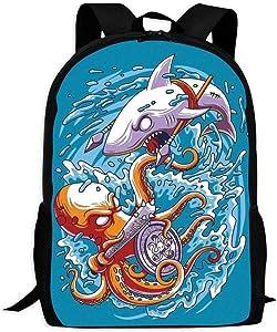X-K2 Backpack Octopus Vs Shark Bookbag Travel Bag Schoolbags Laptop Bag