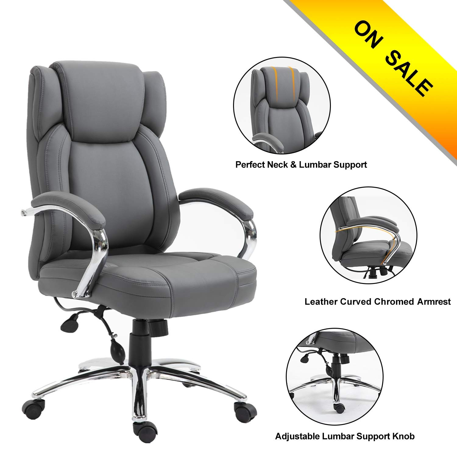 High Back Pu Leather Executive Office Chair- Ergonomic Office Chairs Adjustable Tilt Angle and Chromed Arms with Lumbar Support, Executive Office Chairs for Man and Women PEXECL001 Gray