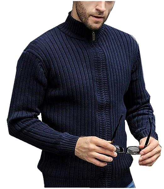 01663a8cd15a HX fashion Cardigan da Uomo Maschile più Maglione Lavorato A Maglia Taglie  Comode in Cashmere con Colletto Caldo con Collo Lavorato A Maglia.