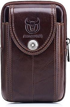 WeeDee Riñonera Hombre Cuero Bolsa Bolso de Cintura Cinturón Bolsillo Cartera Funda para 4~6 Pulgada Smartphone iPhone 8/7/6/Plus Samsung Galaxy S8 Note 8: Amazon.es: Equipaje