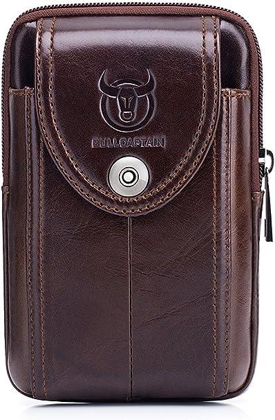 WeeDee Riñonera Hombre Cuero Bolsa Bolso de Cintura Cinturón Bolsillo Cartera Funda para 4~6 Pulgada Smartphone (marrón)
