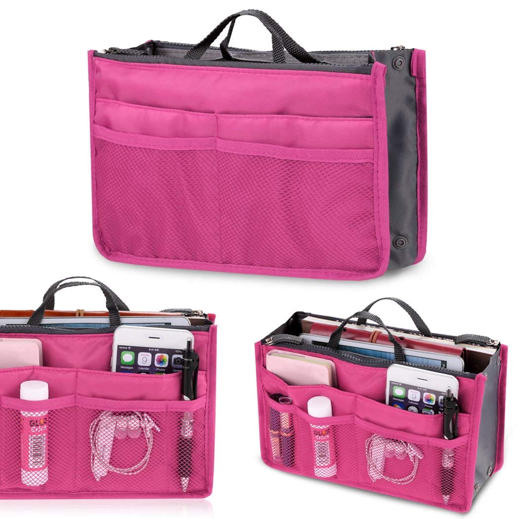 Fashion Women Multifunction Travel Cosmetic Makeup Insert Pouch Toiletry Organizer Handbag Storage Pur Closet Systems (Rose Red)