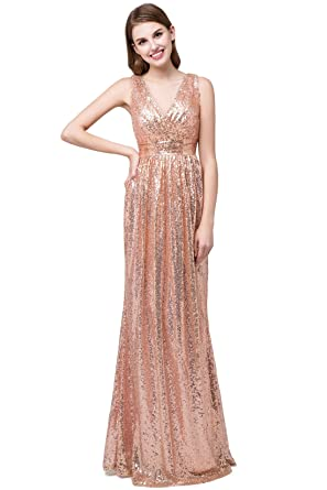 FIGHOUOR Womens Sequins Mermaid Prom Dress Spaghetti Straps V Neck Backless Gowns - - 18W US