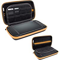 3DSXL Case, Orzly Carry Case for New 3DS XL or Original Nintendo 3DS XL - Protective Hard Shell Portable Travel Case Pouch for 3DS XL Consoles with Slots for Games & Zip Pocket - Orange on Black