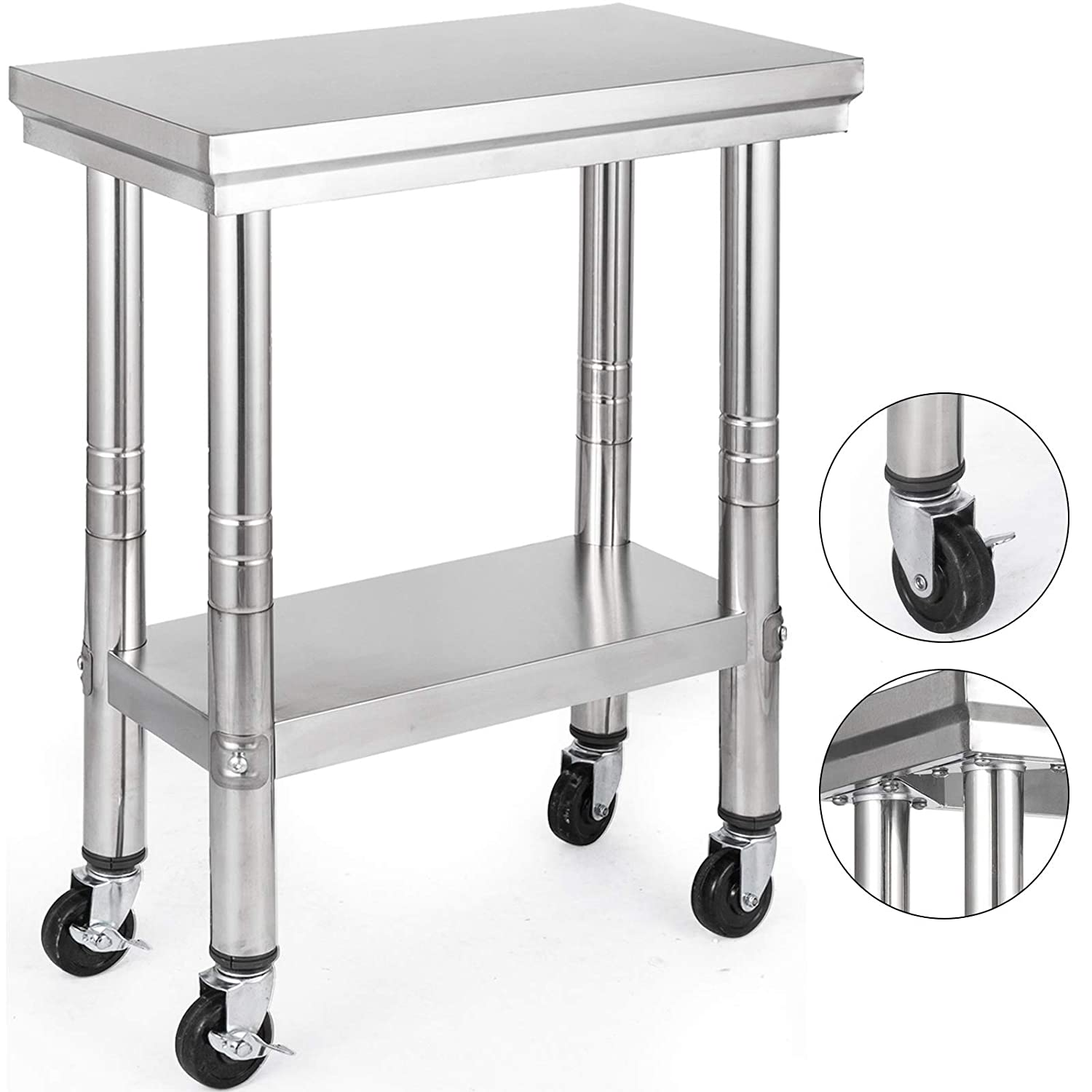 Mophorn Stainless Steel Work Table 24x12 Inch with 4 Wheels Commercial Food Prep Worktable with Casters