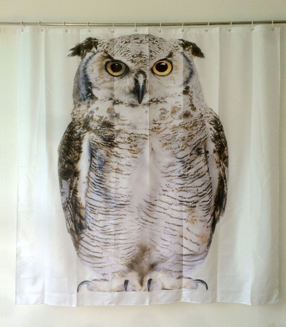 Get Orange Owl Pattern Polyester Fabric,waterproof Shower Curtain 72x72 Inch (Set of 12 Unbreakable Shower Curtain Hooks) (72in2)