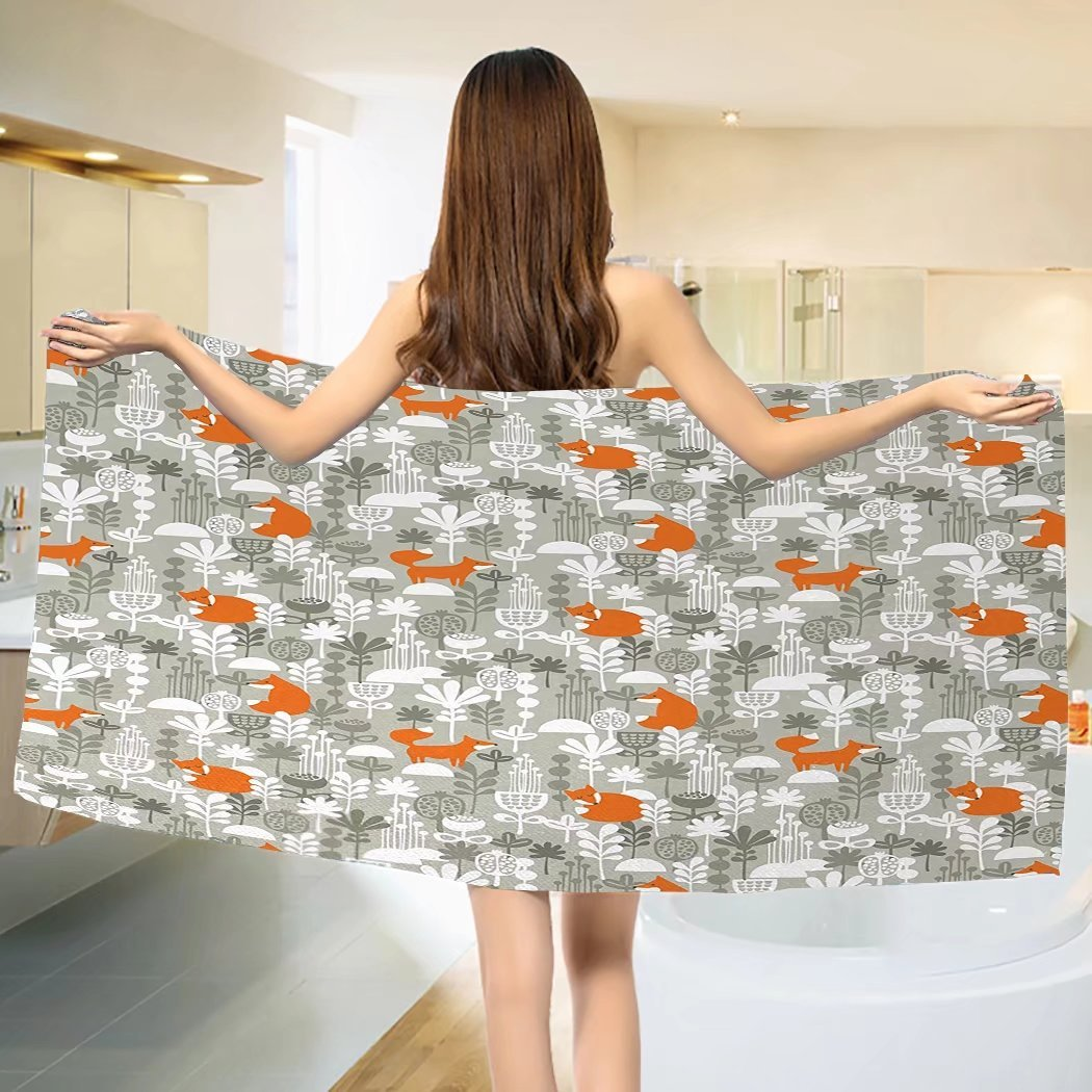 Fox Bath towel Fox in the Winter Forest Abstract Cartoon Trees and Nature Animal Pattern Cotton Beach Towel Pale Sage Green Orange (55''x28'')