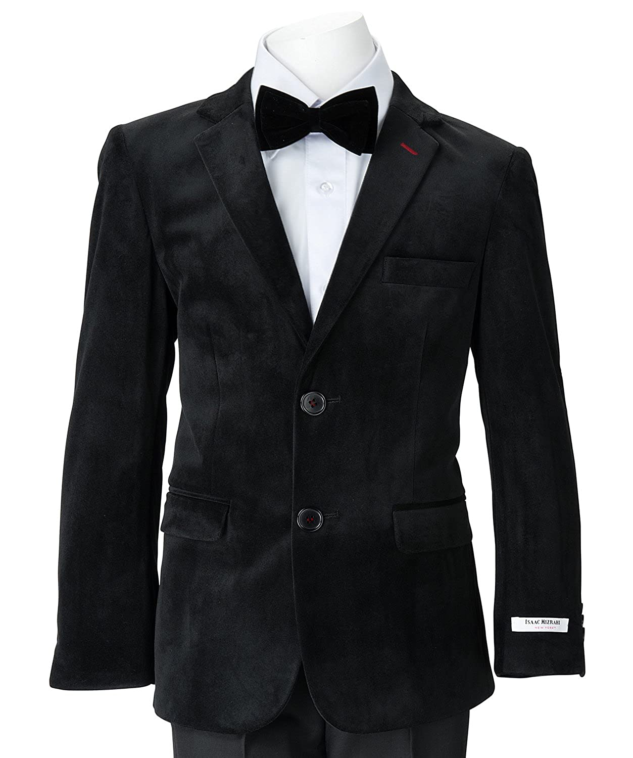 Isaac Mizrahi Little Boys' Single-Breasted Velvet Blazer Jacket for Holiday etc. Weddings Birthday Parties 6 148-6
