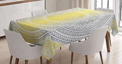 Imagen deABAKUHAUS Gris y Amarillo Mantele, De Color pálido Ombre, Resistente al Agua Apto Uso Exterior e Interior No Destiñen, 140 x 200 cm, Gris Amarillo